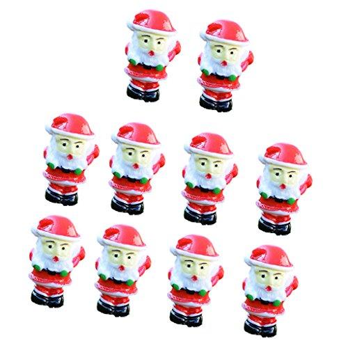 Sharplace Lot de 10pcs Mini Père Noël en Résine Ornement Jardin Bonsai