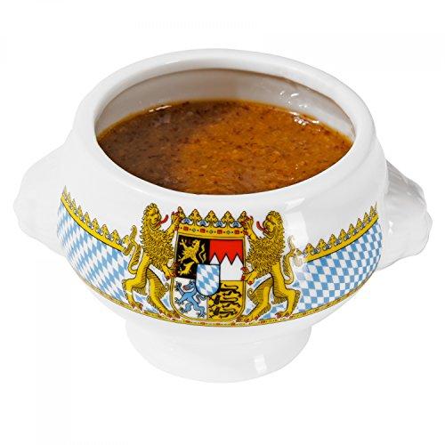 Van Well Mini Löwenkopf-Terrine Bavaria | Ø 75 mm | 100 ml | bayrische Geschirr-Kollektion mit Wappen | Kleine Senf-Schale | Porzellan-Schälchen | Bayern