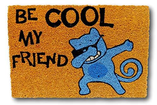 koko doormats felpudos Entrada casa Originales, Fibra de Coco y PVC, Felpudo Exterior Gato BE Cool MY Friend, 40x60x1.5 cm | Alfombra Puerta Entrada casa Exterior | Felpudos Divertidos para Puerta