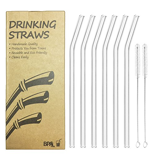 Reusable Bent Glass Drinking Straws, Set of 6 with 2 Cleaning Brushes,Shatter Resistant,BPA Free, Non-Toxic, Eco-Friendly, 200mm x 10mm (Bent 8'' x10mm, Transparent)