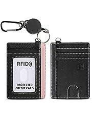 ROCONTRIP ID/ICカードホルダー 両面カードケース 革製 クレジットカード・社員証・名刺・定期入れ パスケース 小銭入れ ファスナー付き