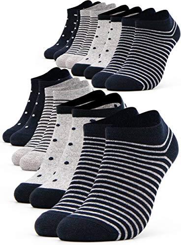 Occulto 8 Paar Damen Sneakersocken Füßlinge mehrfarbig mit Streifen und Punkten 39-42, Navy