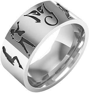 XCFS Unisex Stainless Steel Titanium Steel Dancing King Michael Jackson Hip hop Charm Band Ring