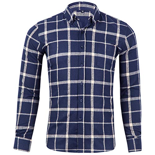 Men's Shirt Spring and Autumn Trend Loose Thin Casual Cotton Classic Plaid Long-Sleeved Shirt Shirt Suitable for Daily Wear at Home M