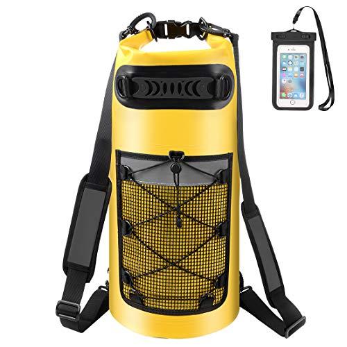 ALEENUN Dry Bag, Wasserdicht Taschen,Wasserdichter Packsack mit Handy Dry Tasche und Lang Verstellbarer Schultergurt- Gr. 20L, Gelb
