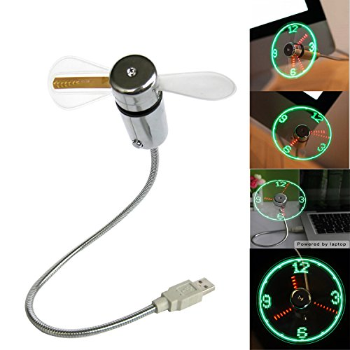 USB Mini Flexible Time Clock Fan with LED Light Real Time Display- Cool Gadget