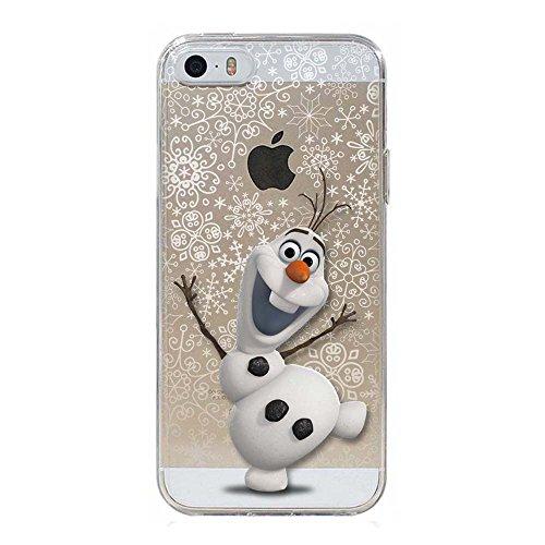 5 5S SE Cover TPU Gel Trasparente Morbida Custodia Protettiva, Cartoon, Special Collection, Frozen Olaf, iPhone 5 5S SE