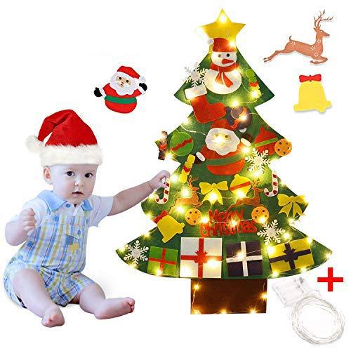 Outgeek Albero di Natale in Feltro, 3.28ft Albero di Natale in Feltro Decorativo Fai da Te con 50 luci a LED 30PCS di Ornamenti per Bambini Regali di Capodanno Porta di Natale Murale