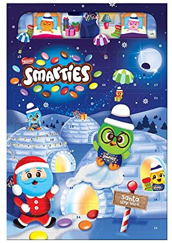 NESTLÉ SMARTIES Adventskalender, Weihnachtskalender gefüllt mit Figuren aus Milchschokolade & SMARTIES Schokolinsen, 1er Pack (1 x 194g)