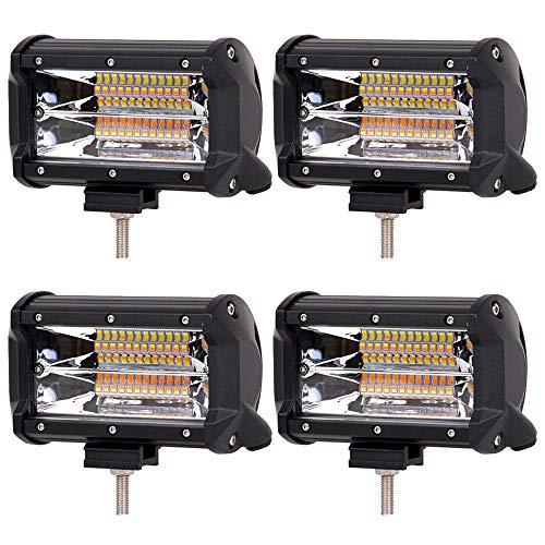 WANYIG Neu Arbeitsscheinwerfer LED 12v Traktor 5 Zoll 288W LED Zusatzscheinwerfer 20000LM 24000K Flutlichtstrahler Auto Offroad mit 24 Zwei Farben LEDs Work Light Bars Wasserdicht IP67 (4 Stück)