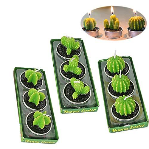 SoundZero 9Pcs Velas Cactus, Vela Suculenta Decorativas, Velas aromáticas sin Humo de Cactus Velas de té, Lindo Verde Mini Plantas suculentas Velas para Fiesta de cumpleaños, Boda, SPA, decoración