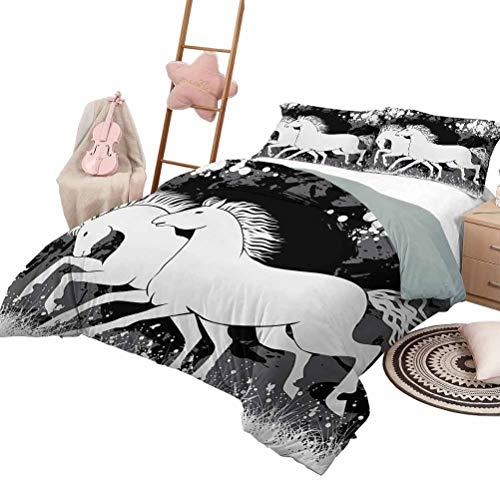 Juego de edredones para niños Funda de edredón con estampado moderno Antiguo Roman Time Gladiator Dos caballos de carrera con marcas de pintura Impresión de imagen Tamaño completo Negro Blanco Gris
