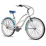 CHRISSON Beachcruiser Sandy - Bicicleta para mujer (26 pulgadas, cambio de buje Shimano Nexus, estilo retro, estilo cruiser, color blanco y azul