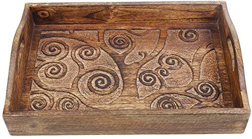 Tree of Life Wooden Breakfast Serving Tray with Handle for Tea Snack Dessert Kitchen Dining Serve Ware Accessories 15 x 10 Inches