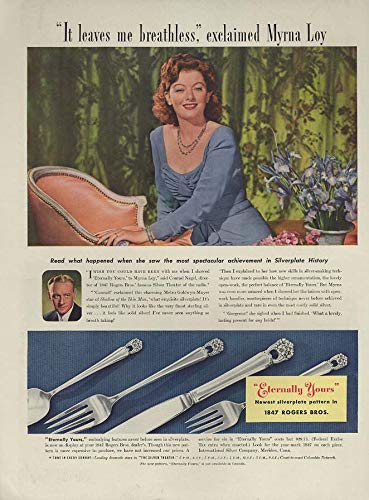 Myrna Loy for 1847 Rogers Bros Eternally Yours silverware ad 1941 L