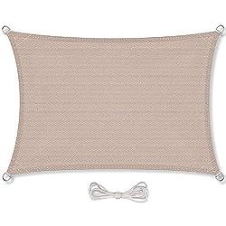 CelinaSun aurinkopurje sisältää kiinnitysköydet HDPE säänkestävä hengittävä suorakulmio 3 x 4 m hiekka beige