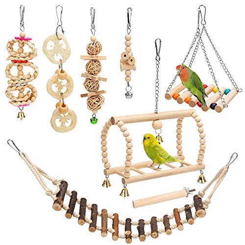 8 Packs Bird Parrot Swing Hanging Toy,Natural Wood Bell Bird Cage Toys for Parrots, Parakeets, Cockatiels, Conures, Finches,Budgie,Parrots, Love Birds, Australian Parrot, Small Birds