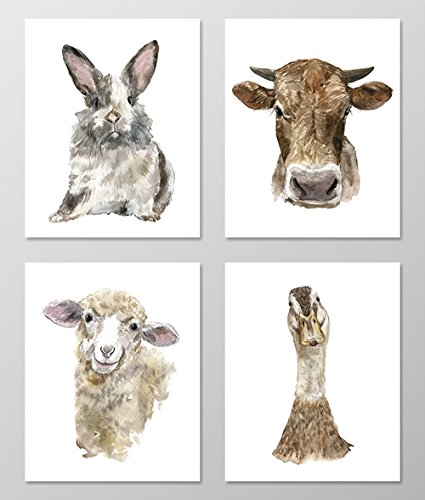 Nursery art #A071 - Set of 4 Farm Animal art prints (8x10). Nursery wall art.Farm theme nursery.Watercolor farm animal pictures.Baby room wall art.Rabbit,Cow,Sheep print.Farm nursery art.