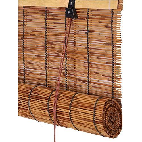 KEOA Protector Solar Persiana Enrollable de Bambú Natural Carbonización Retro Pantalla de privacidad Parasol Cortina de Paja Respirable Persianas De Caña-60 cm × 160 cm / 24 in × 63 in