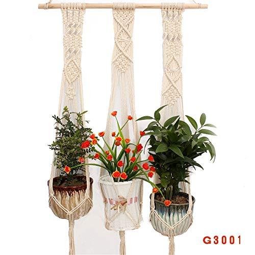 Honglimeiwujindian kleerhangers van macramé, eenvoudig macramé, plantenbak, bloemenmanden, hangend, katoen, handgemaakt, voor huis, decoratie binnen en buiten, decoratie voor de tuin