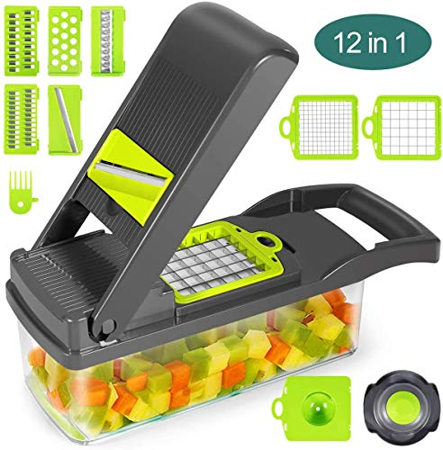 Vegetable Chopper, 12 in 1 Multifunctional Slicer with Container, Adjustable Mandolin Slicer, Household Kitchen Cutter for Veggie, Fruit Salad, Onion, Potato