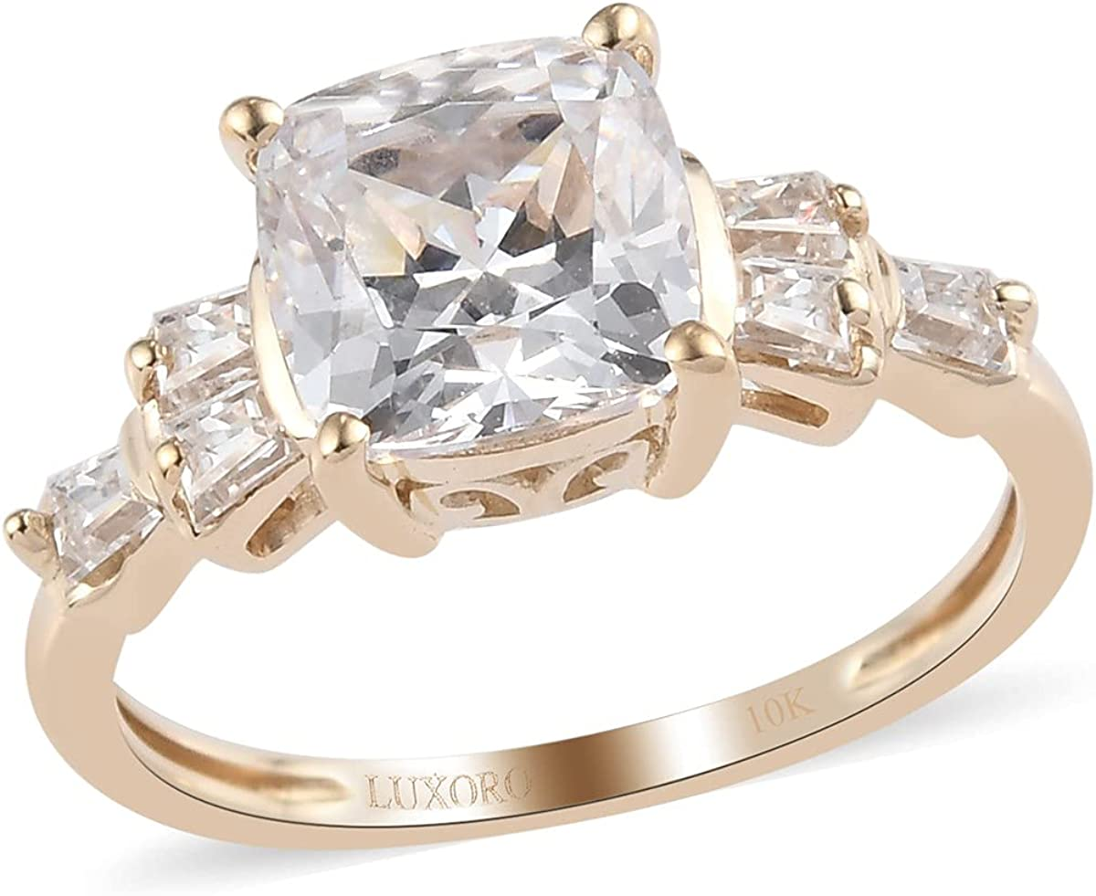 Shop LC 10K Yellow Gold Made with Swarovski Zirconia Ring Engagement Wedding Anniversary Bridal Birthday Jewelry Gifts for Women Cttw 3.1