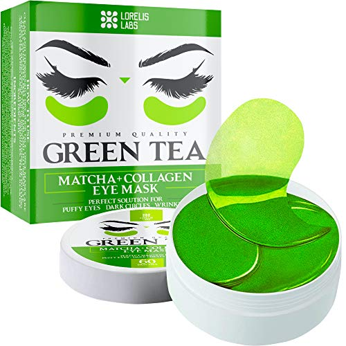Green Tea Matcha Under Eye Patches with Collagen and Hyaluronic Acid - Hydrating Eye Pads for Puffy Eyes and Eye Bags - 60 Patches