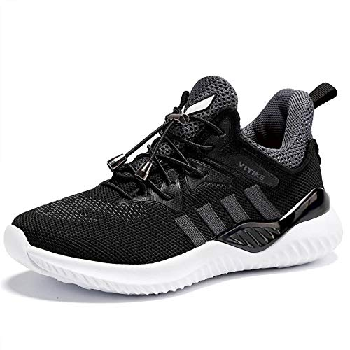 WETIKE Zapatillas Deportivas Niños Zapatillas de Running Casual Zapatos Deporte Transpirables Calzado con para Niña Junior 35EU Negro