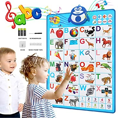 Paloura ABC Educational Toy for Preschool Toddler and Kindergarten Kid Talking Alphabet & 123s & Music Electronic Interactive Wall Poster Learning Game and Funny Gift for 2 3 4 5 Year Old Girls & Boys by Paloura