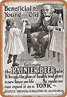 子供のためのレイニアビール壁の金属のポスターレトロなプラーク警告ブリキのサインヴィンテージ鉄の絵画の装飾オフィスの寝室のリビングルームクラブのための面白いハンギングクラフト