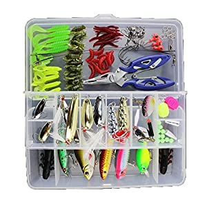 Fishing Tackle Lots,Fishing Baits Kit Set with Free Tackle Box,for Freshwater Trout Bass Salmon with Fishing Plier