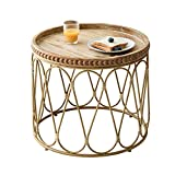 Bed Table, Tables Rattan Round Coffee Table, Side Table, Negotiating Table in The Living Room, Modern Creative Side Table, Diameter 21.65 inch Coffee Table Color : Rattan, Size : 21.6521.6521.65in