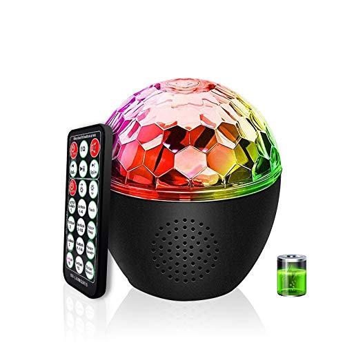 Discokugel LED Party Licht MEKUULA Bluetooth-Audio Einstellbare Lichthelligkeit und Drehgeschwindigkeit mit 16 Beleuchtungs form für Halloween Kinder Geburtstag Bar Karaoke,Eingebaute Batterie