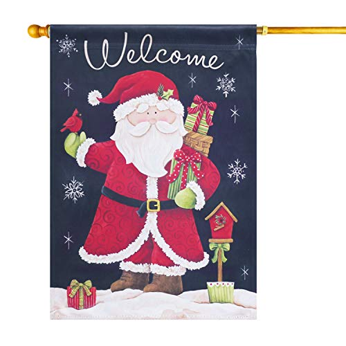 LAYOER Home Garden Flag 28 x 40 Inch Decorative House Double Sided Christmas Winter Banner (Santa Claus Welcome)