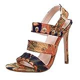 Chaussures pour Femmes Talon Haut Stiletto Printemps 2020 Élégant LuckyGirls Femmes Sandales Summer Party Boho Chaussures Femme Robe compensée Imprimer Boucle de fermeture 35-40 EU
