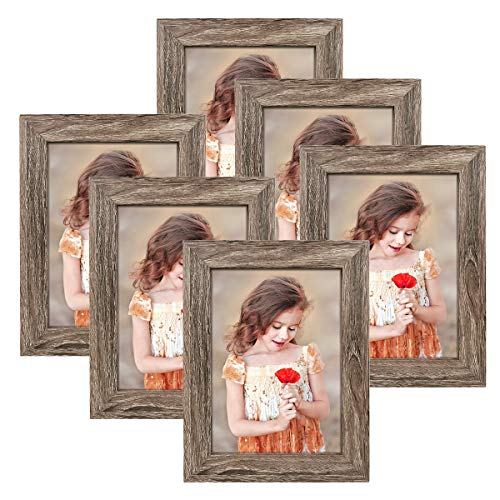 NUOLAN 5x7 Picture Frame Rustic Gray Wood Pattern Art Photo Frames 6 Packs for Wall or Tabletop Display (NL-PF5X7-RG)