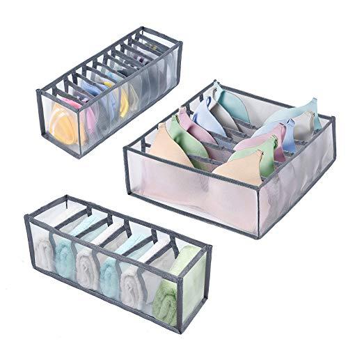 Juego de 3 organizadores de cajones de ropa interior Organizador Cajones Organizador de armario de nailon para cajas de almacenamiento de sujetadores, bragas y corbatas