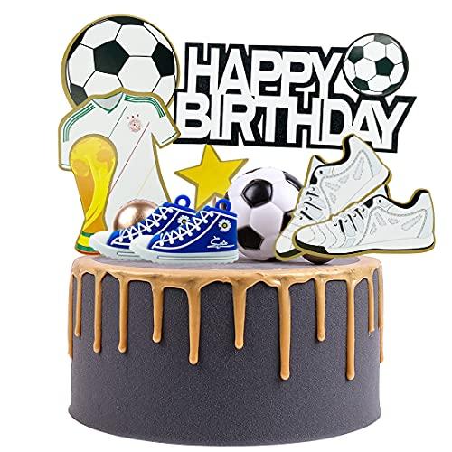 PAWT 10 Adornos para Tartas de Fútbol de Cumpleaños,...