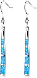 Drop Dangle Earring-Opal Dangle Earrings Silver Plated Dangle Bar Earrings Women Jewelry Gems Dangle Earrings 2 1/8