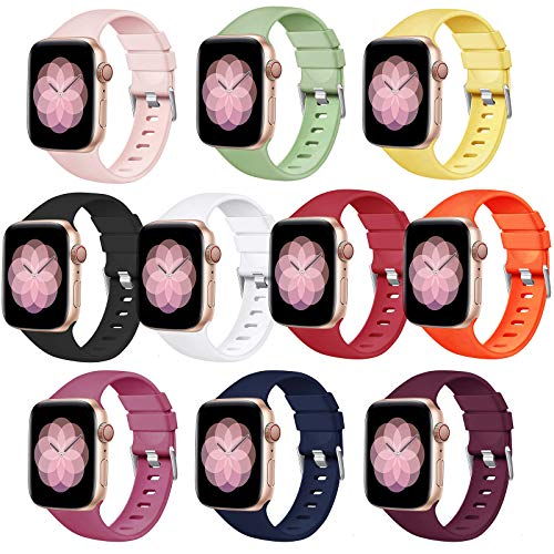 PROSRAT 10PCS Bands Compatible with Apple Watch Bands 42mm 44mm Women Men, Silicone Replacement Bands for iWatch Series SE/6/5/4/3/2/1 (10 PCS, 42mm/44mm)