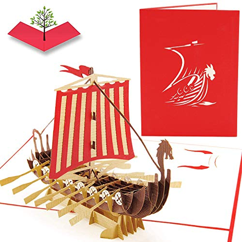 PopLife Warrior Viking Ship 3D Pop Up Card for All Occasions - Happy Anniversary Pop Up Fathers Day Card, Valentines Day Card for Men, Retirement Card - for Dad, for Husband, for Son, for Grandpa