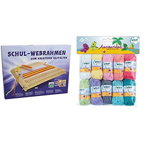 Allgäuer Webrahmenfabrik, Schulwebrahmen zum Weben und Gestalten 225 , 25cm & Gründl Amigurumi - Set II Wolle, Baumwolle, bunt, 19.5 x 18 x 2.6 cm