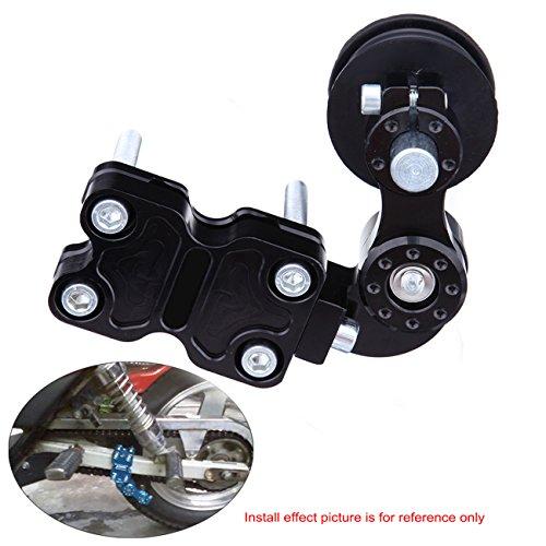 Ambienceo Motorrad Kettenspanner Bolzen auf Rolle Universal Schwarz Einstellbar für Chopper ATV Dirt Bike