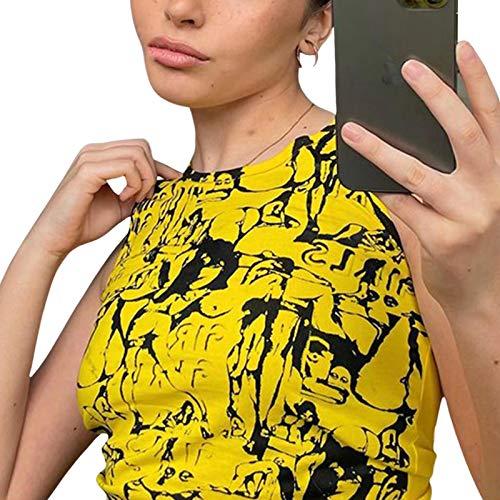 nvIEFE Y2k - Camiseta de tirantes para mujer, cuello redondo, manga corta, diseño de retrato gráfico de moda de los años 90 Punk Streetwear