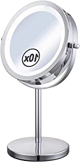 YASE-king Bathroom Vanity Mirrors Portable Double Sided Makeup Mirror with Natural LED Lights, 1x/10x Magnification Lighte...
