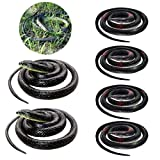 fluffy 6 Pieces Large Rubber Realistic Fake Snake Toy Black Mamba for Garden Props and Practical Joke Fake Snake Snake Toys for Garden Props to Scare Birds and Squirreltion
