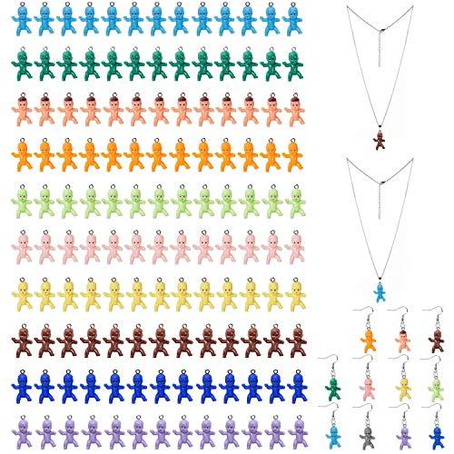 DIY Joyería Collar Suministros De Plástico De Color Muñeca Colgante Colgante De Resina Bebé Llavero Personalizado Pendientes 60 Piezas
