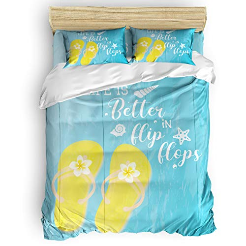 Amaze-Home Yellow Slippers 4 Pieces Bedding Sets California King Flannel Duvet Cover Sheet Bedspread with 2 Decorative Pillow Shams for Bedroom Dorm Hotel Blue Wooden Board