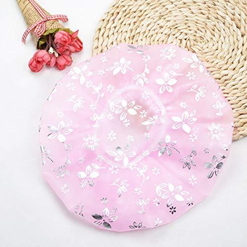 no brand SHUHUAN Bauhinia Waterproof Elastic Spa Shower Cap Hat Bath Hair Cover Protector Hats Bathroom Product