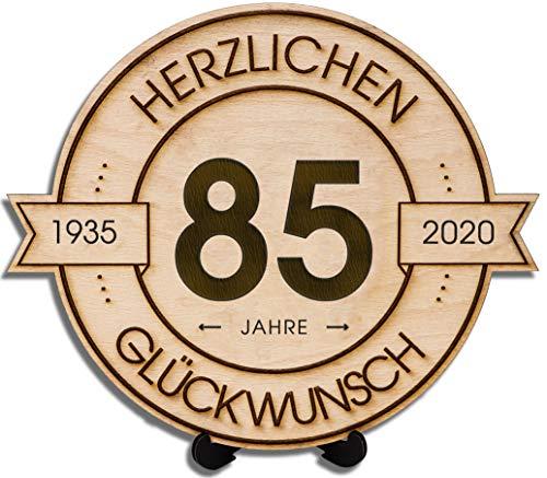 DARO Design - Holzscheibe graviert - 85 Jahre - Größe 20cm - Geschenk zum Jubiläum, Geburtstag, Jahrestag - Herzlichen Glückwunsch